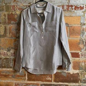 J. Crew grey striped silk blouse
